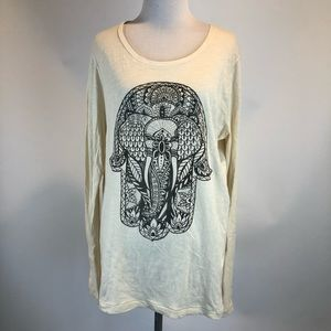 Lucky Lotus Beige Long Sleeved Graphic Tee SZ L